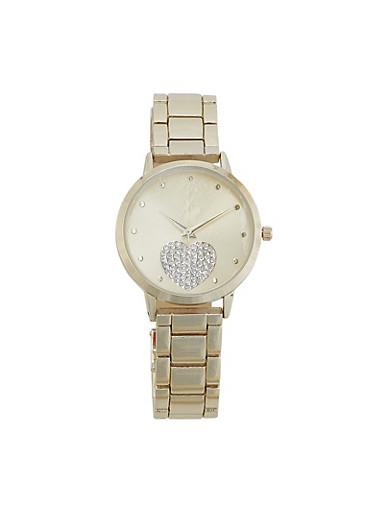 Rhinestone Heart Metallic Watch,GOLD,large