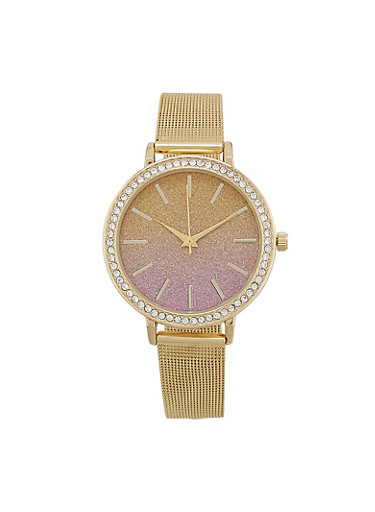 Ombre Glitter Face Metallic Mesh Watch,ROSE,large