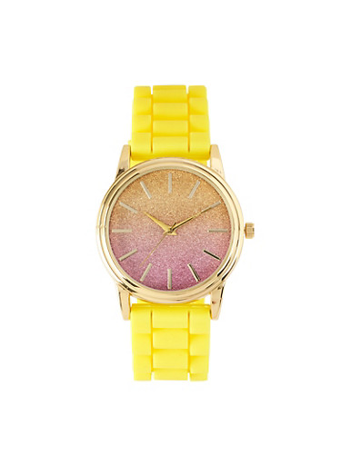 Ombre Glitter Watch | Yellow,YELLOW,large