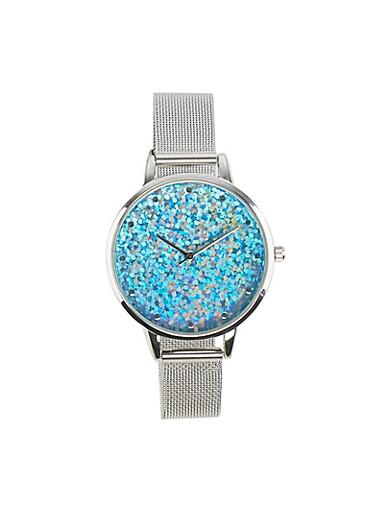 Glitter Face Metallic Strap Watch,YELLOW,large