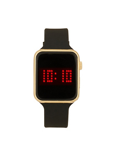 Rectangular Metallic LED Watch,BLACK,large