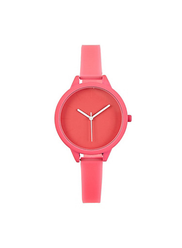 Neon Skinny Strap Watch,NEON PINK,large