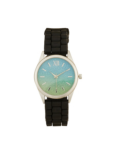 Two Tone Glitter Watch,GREEN,large