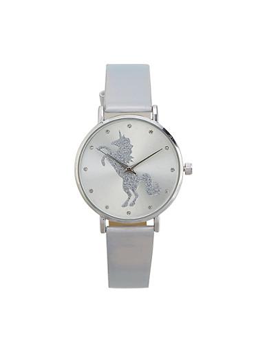 Glitter Unicorn Watch,SILVER,large