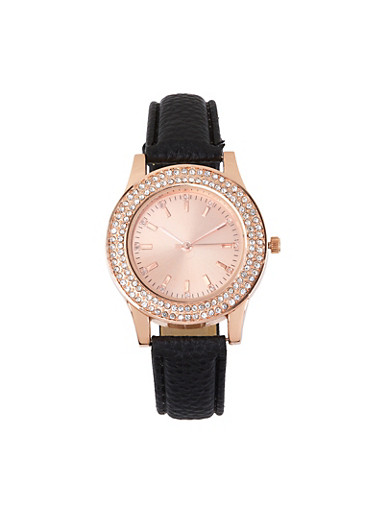 Rhinestone Studded Watch,BLACK,large