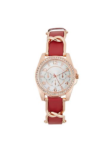 Rhinestone Bezel Faux Leather Strap Watch,WINE,large