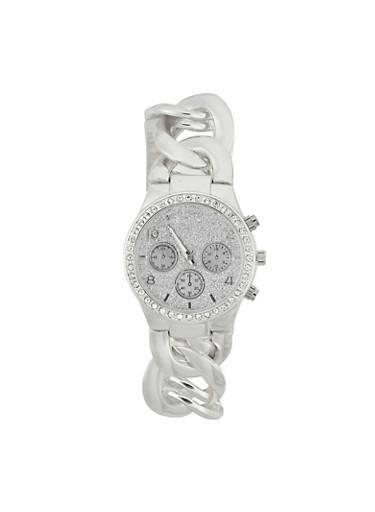 Rhinestone Bezel Chain Strap Watch,SILVER,large