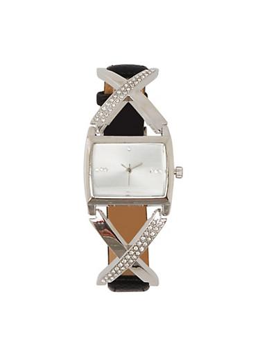 Rhinestone X Strap Watch,BLACK,large