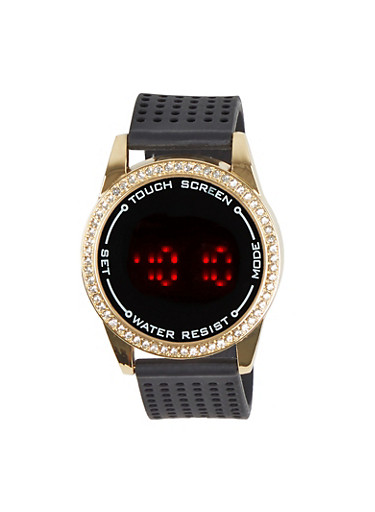 Perforated Band Round Watch,BLACK,large