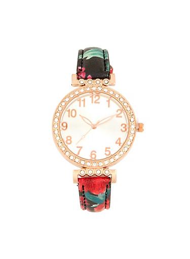 Floral Rhinestone Watch,BLACK,large