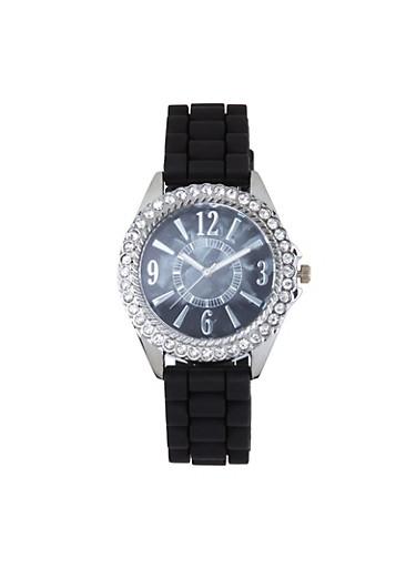 Rhinestone Bezel Silicone Watch,BLACK,large