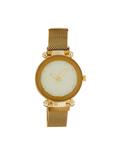 Glitter Face Mesh Watch,GOLD,large