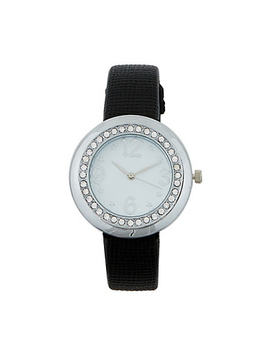 Textured Faux Leather Watch,BLACK,large