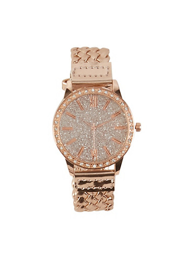 Glitter Face Woven Watch,ROSE,large