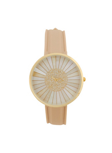 Striped Glitter Face Rubber Strap Watch,IVORY,large
