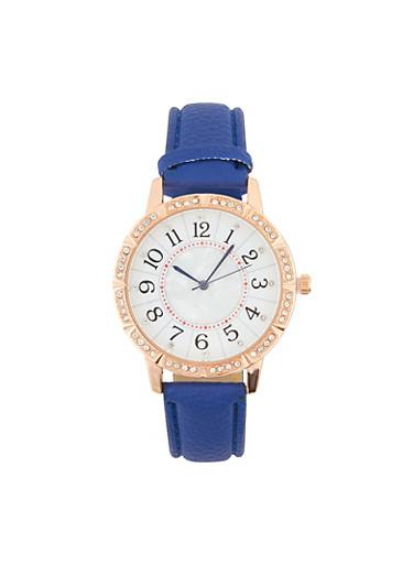 Rhinestone Bezel Faux Leather Watch,BLUE,large