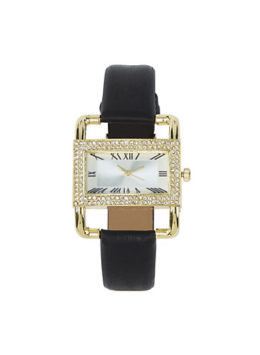 Rectangle Rhinestone Bezel Faux Leather Watch,BLACK,large