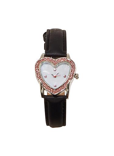 Rhinestone Heart Bezel Watch,BLACK,large