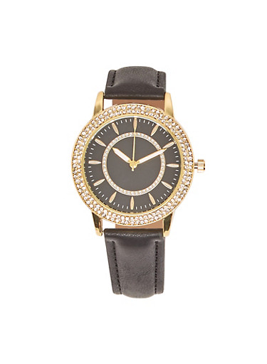 Rhinestone Accent Faux Leather Strap Watch,BLACK,large