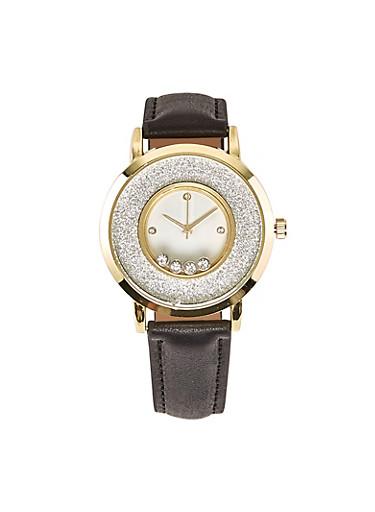 Metallic Bezel Glitter Faux Leather Watch,BLACK,large