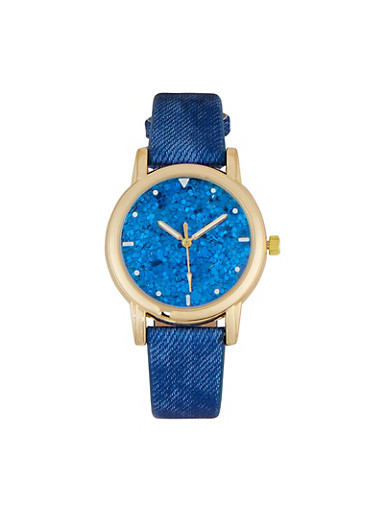 Glitter Face Watch,BLUE,large