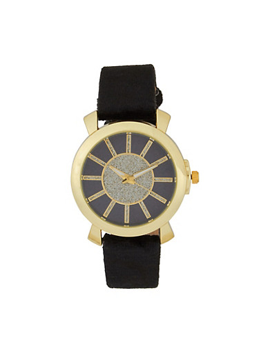 Velvet Band Glitter Face Watch,BLACK,large