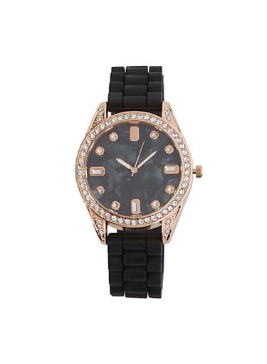 Rhinestone Details Silicone Watch,BLACK,large