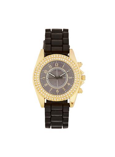 Double Rhinestone Bezel Silicone Watch,BLACK,large