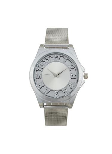Rhinestone Number Metallic Mesh Watch,SILVER,large