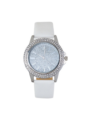 Glitter Face Faux Leather Watch,WHITE,large
