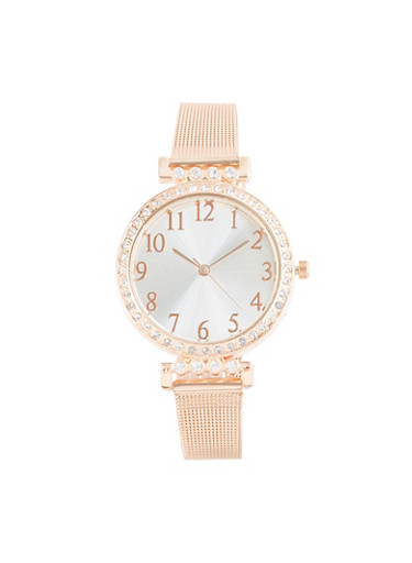 Rhinestone Bezel Metallic Mesh Watch,ROSE,large