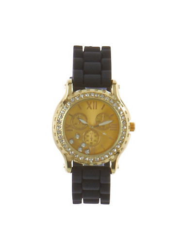 Rhinestone Bezel Watch With Roman Numeral Face,BLACK,large