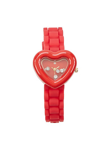 Metallic Heart Face Silicone Strap Watch,RED,large