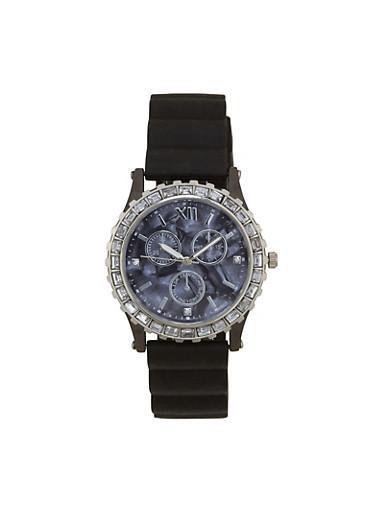 Rhinestone Bezel Rubber Strap Watch,SILVER,large