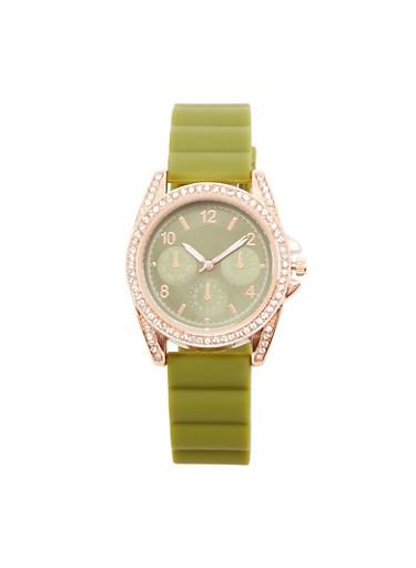 Rhinestone Bezel Rubber Strap Watch,OLIVE,large