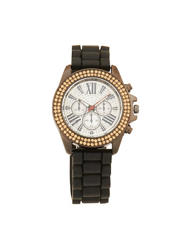 Woven Rubber Strap Watch with Rhinestone Detail,SILVER,large