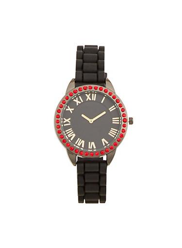 Rhinestone Bezel Rubber Strap Watch,BLACK,large
