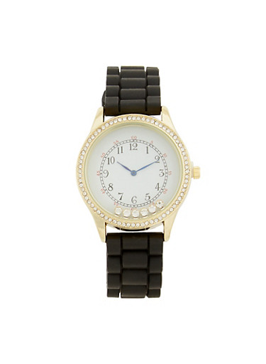 Floating Rhinestone Watch,BLACK,large