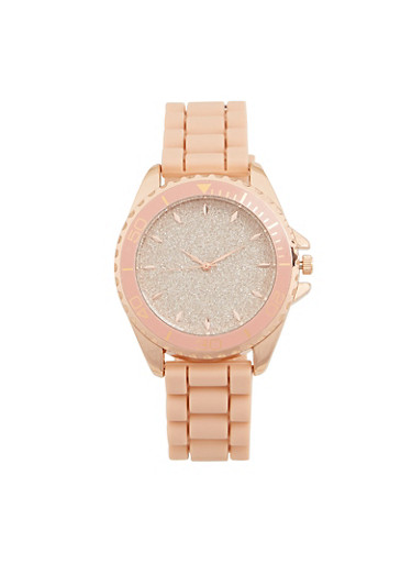 Glitter Face Rubber Strap Watch,BLUSH,large