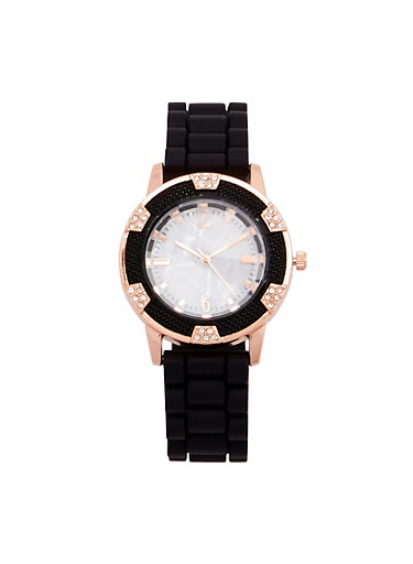 Marble Face Watch with Rubber Strap,BLACK,large