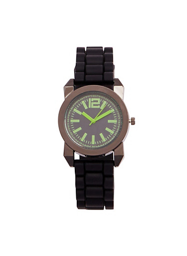 Rubber Strap Sports Watch,GREEN,large