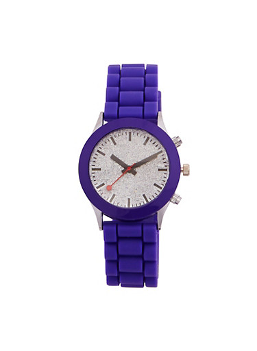 Glitter Face Watch with Rubber Strap,VIOLET,large