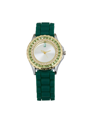 Jeweled Rhinestone Rubber Strap Watch,GREEN,large