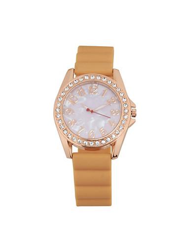 Rhinestone Bezel Rubber Strap Watch,BLUSH,large