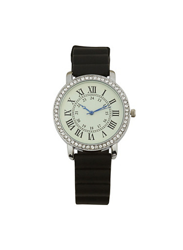 Roman Numeral Rubber Strap Watch,BLACK,large