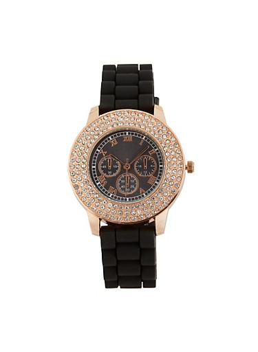 Rhinestone Bezel Silicone Strap Watch,BLACK,large