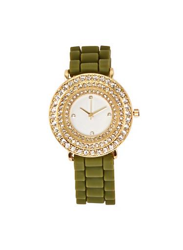 Rhinestone Bezel Silicone Watch | 1140071432973,OLIVE,large