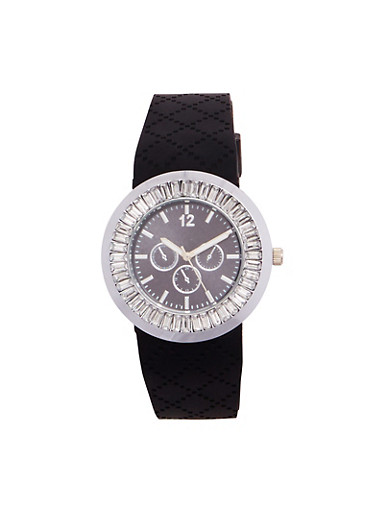 Rhinestone Bezel Watch with Textured Rubber Strap,BLACK,large