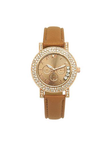 Rhinestone Bezel Faux Leather Strap Watch,TAN,large