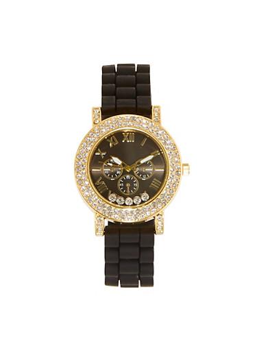 Rhinestone Studded Rubber Watch,BLACK,large